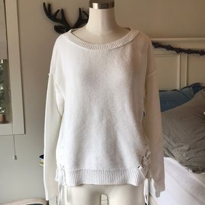 Abercrombie and Fitch white side lace up sweater